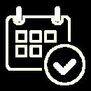 A white icon of a booking calendar